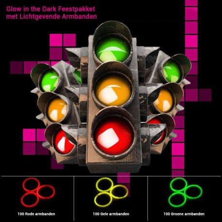 Glow in the Dark Feestpakket met lichtgevende armbanden