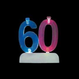 Número 60 Intermitente con 4 Velas